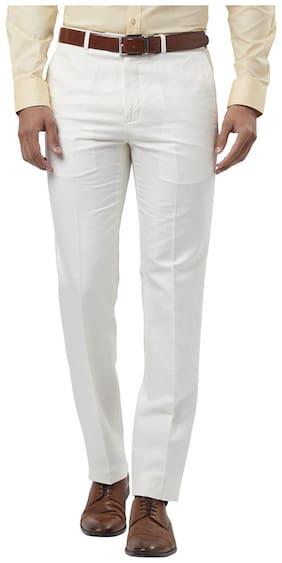 Raymond Solid Cotton Blend White Regular Fit 0 0 Trouser