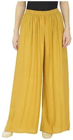 KKRISH Yellow Solid Wide Leg Palazzo