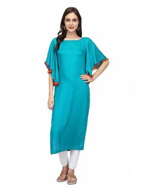 Abhishti Women Rayon Solid Straight Kurta - Blue