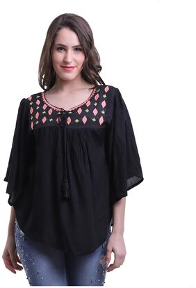 Meer India Garments Rayon Poncho - Black