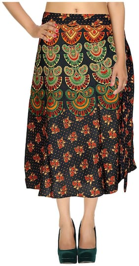 Rayon Printed Blue & Orange Damask Pattern Midi Length Casual Wrap Around Women Skirt By Rajrang