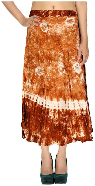 Rayon Tie Dye Brown Abstract Pattern Midi Length Casual Wrap Around Women Skirt By Rajrang