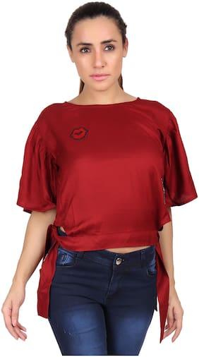 Meer India Garments Women Solid Regular top - Maroon