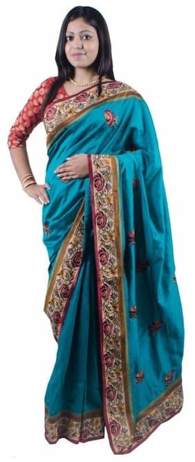 867f707da07 RB Sarees Embroidered Ferozi Blue Coloured Dupion Silk Saree