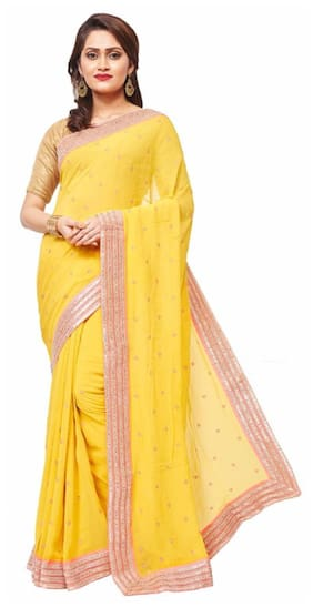 b08b6d452c6 RB Sarees Yellow Coloured 100% Pure Georgette Hand Embroidered Saree
