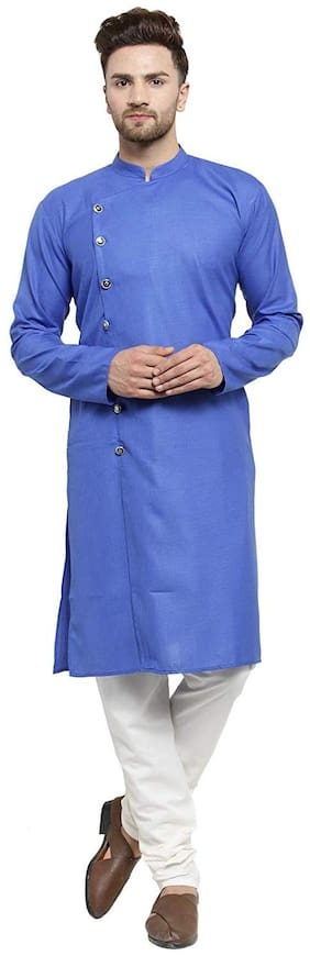 RC Ethnic Blue Cross Cotton Kurta Pyjama Set For Men