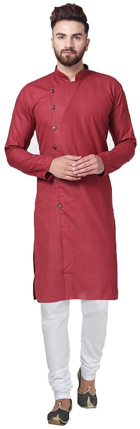 RC Ethnic Maroon Cross Cotton Kurta Pyjama Set For Men