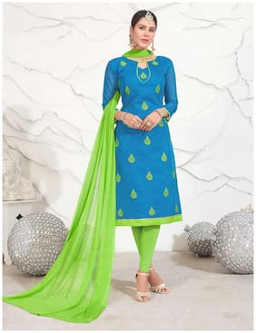 Real Saree Sky Blue Chanderi Designer Embroidered Un-Stitched Salwar Suits