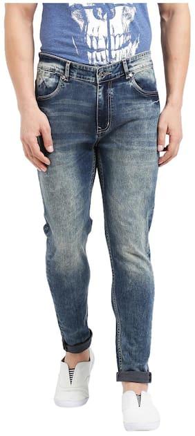 Realm Men Khakhi Blue Skinny Fit Mid Rise Clean Look Stretchable Denim