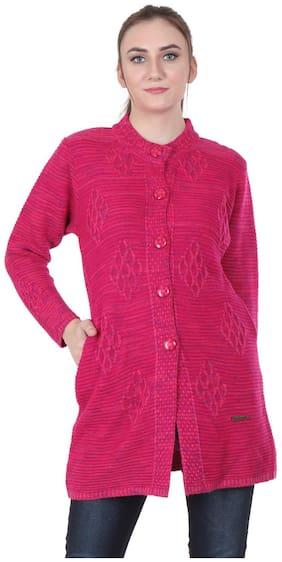 Rebecca Women Self design Regular fit Coat - Pink