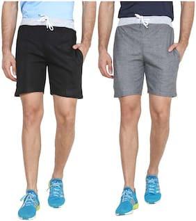 REC SWAGGY SOLID MEN'S SHORTS (PACK OF 2)