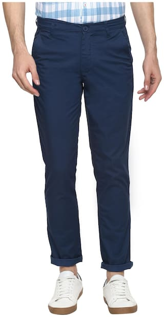 Red Chief Men Navy blue Solid Slim fit Regular trousers