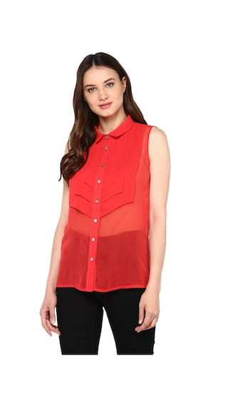 The Vanca Red Classic High Low Shirt Will Slim Collar