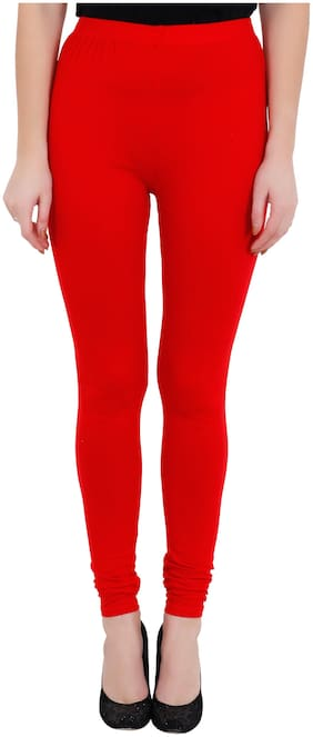 Red Color Cotton Full Length Legging