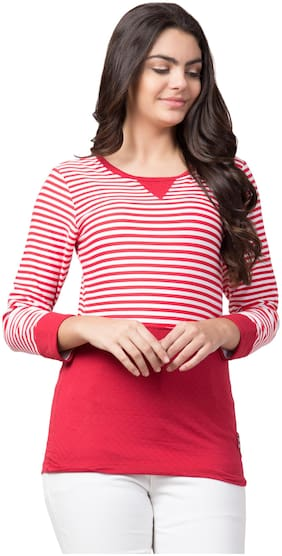 Red Color Striped Round Neck Full Sleeve Trendy Women's T-Shirt