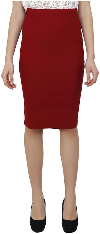AADRIKA.COM FASHION WORLD Solid Straight skirt Midi Skirt - Red