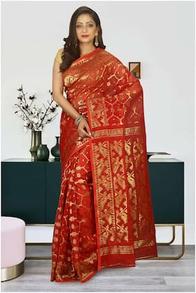 red cotton silk jamdani saree without blouse piece