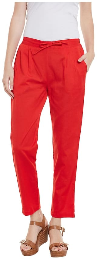 Red Trousers Solid Red Cotton Cotton Bxw16q8
