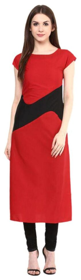 Urbane Woman Red Crepe Casual Regular Kurti