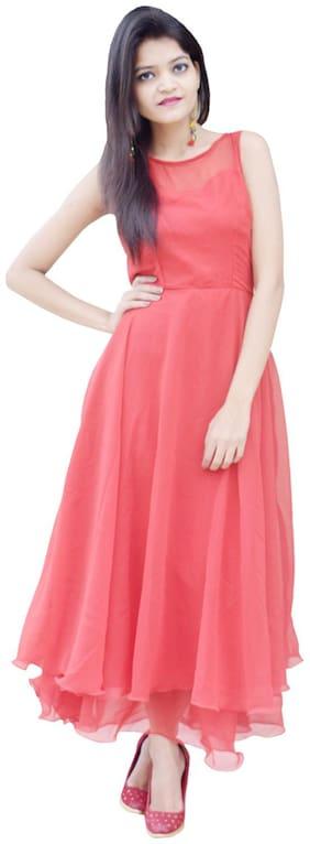 Rajkumari dress up like a princess Red Solid Flared dress