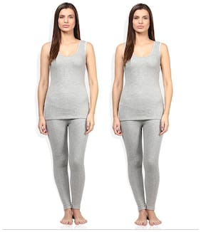 Red Fort Women Thermal Grey Slip Camisole Set pack of 2
