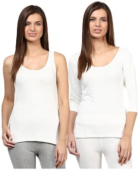 Red Fort Women Thermal White Full Sleeve and Slip camisole top pack of 2