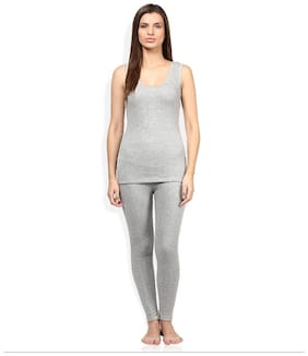 Red Fort Women Cotton Thermal set - Grey