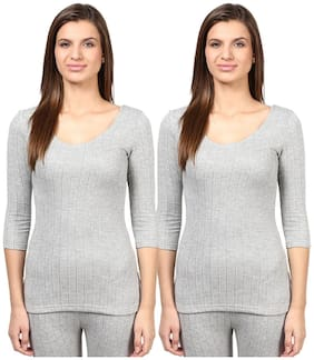 Red Fort Women Thermal Grey Full Sleeve Top pack of 2