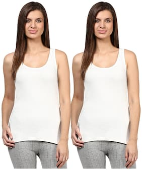 Red Fort Women Thermal White Slip Camisole Pack of 2