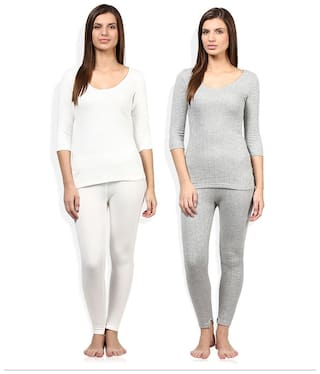 Red Fort Women Thermal Grey and White Full Sleeve Set