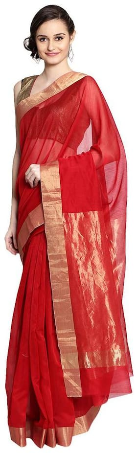 Red hand woven pure chanderi saree
