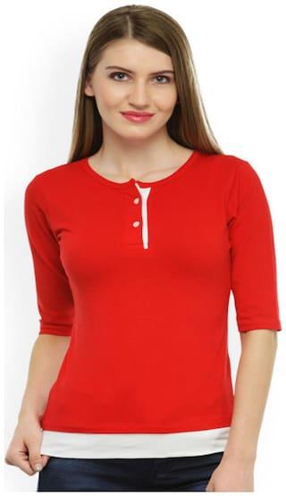 Sundish Women Printed Round neck T shirt - Red