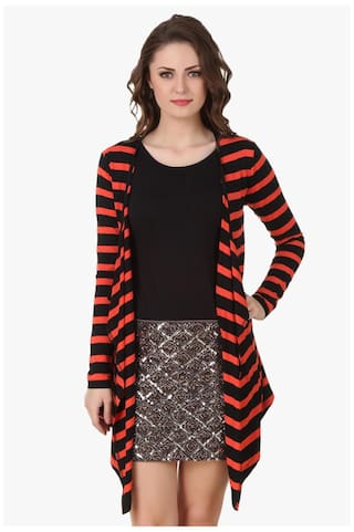 9690be6236a Buy Red   N Black Striped viscose Shrug Online at Low Prices in ...