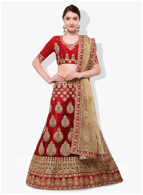 Aasvaa Net Printed A-line Lehenga Choli - Brown