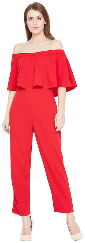 Femella Solid Jumpsuit - Red