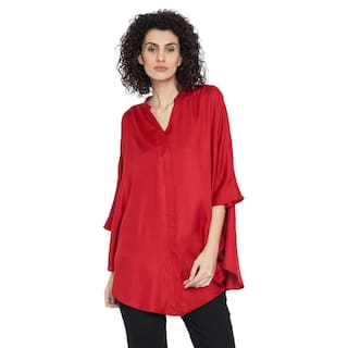 Red oversized button down shirt