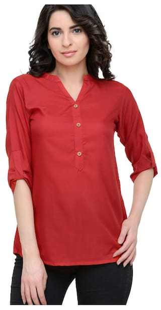 856aa4a84e1661 Buy Red Plain Crepe Top Online at Low Prices in India - Paytmmall.com