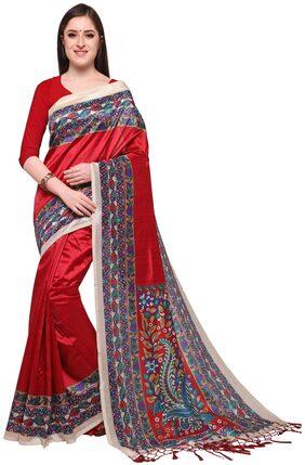 Red Printed Kalamkari Mysore Silk Saree With Blouse Peice