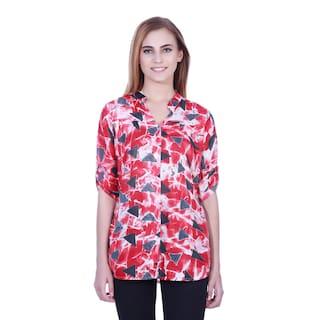 Red Printed shirt tunic