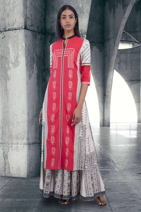 W Red Printed Mandarin Neck Kurta
