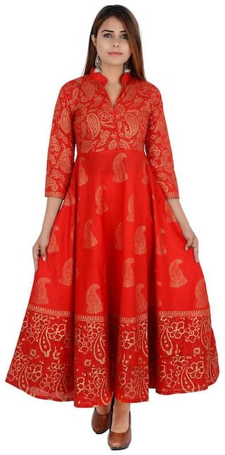 Zoeyam's Women Red Printed Anarkali Kurta
