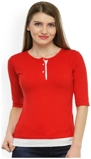Sundish Women Red Regular fit Round neck Viscose rayon T shirt
