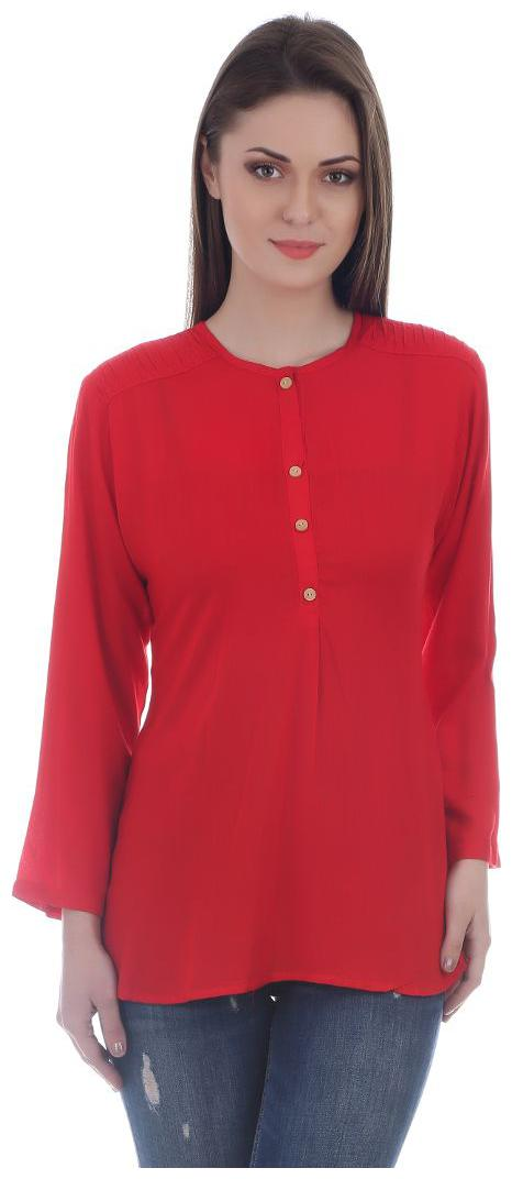 Red Solid Full Sleeve Rayon Short Top
