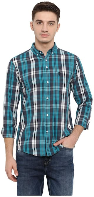 Red Tape Men Green Checked Regular Fit Casual Shirt