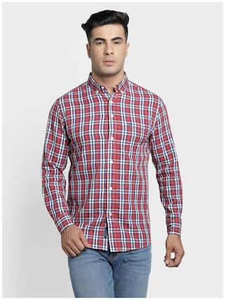 Red Tape Men Red & Blue Checked Regular Fit Casual Shirt
