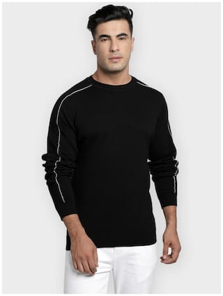Red Tape Men Black Round neck Longline sweater