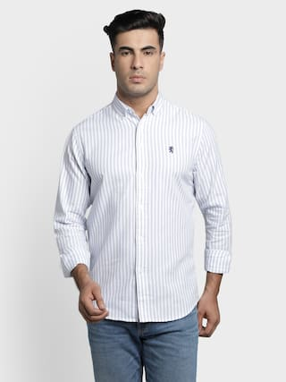 Red Tape Men White Vertical Stripes Regular Fit Casual Shirt