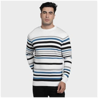 Red Tape Men White Round neck Longline sweater
