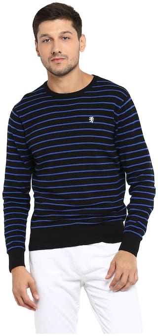 Red Tape Men Cotton Longline Sweater Black
