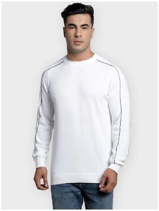 Red Tape Men White Round neck Longline sweater